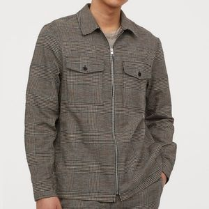 H&M Black Houndstooth Zip Up Twill Shirt Jacket
